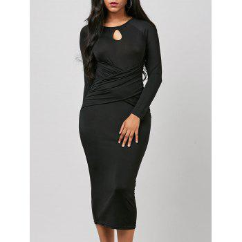 Keyhole Ruched Cross Bodycon Dress