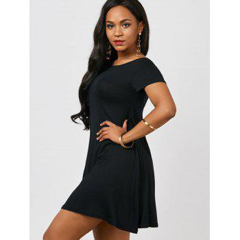 Cut Out Mini Tee Dress - BLACK BLACK
