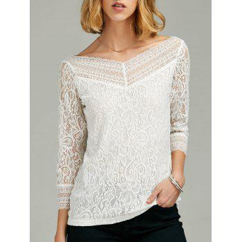 Lace Panel Sheer Sleeve T-Shirt