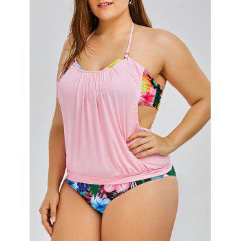 Halter Pineapple Tropical Plus Size Tankini Set