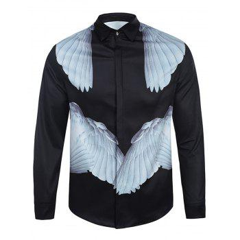 Symmetrical Wings Print Curve Bottom Cover Placket Shirt
