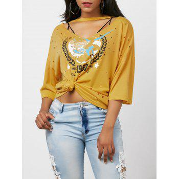 Graphic Cut Out Distressed Choker T-Shirt