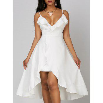 Ruffle High Low Wedding Dress - WHITE WHITE