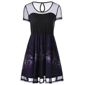 Cut Out Sheer Graphic Party Dress