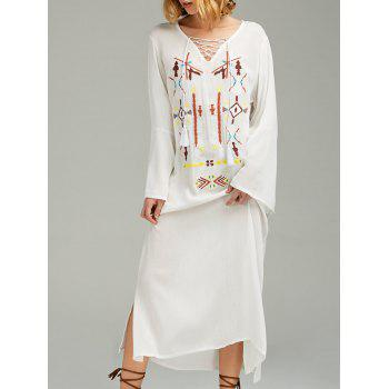 Lace-Up Embroidered Long Sleeve Linen Bohemian Dress