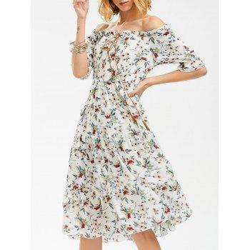 Off The Shoulder Floral Print Chiffon Dress