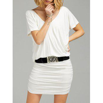 V Neck Ruched Tee Dress with Belt