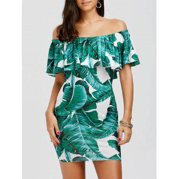 Off The Shoulder Leaf Print Ruffle Holiday Dress
