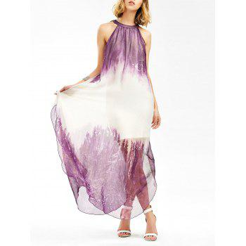 Sleeveless Side Slit Maxi Flowing Dress
