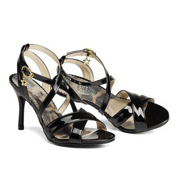 Patent Leather Cross Straps Sandals