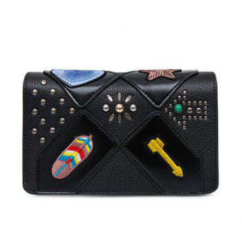 Patches Rivet Flap Crossbody Bag