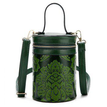 Embossed Cylinder Shaped Mini Handbag - GREEN GREEN