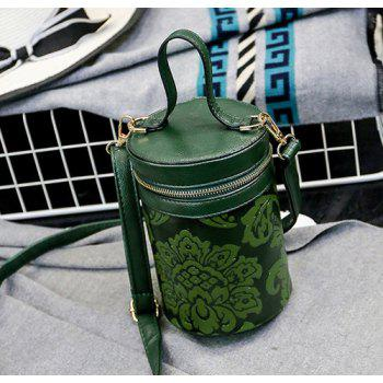Embossed Cylinder Shaped Mini Handbag -  GREEN