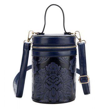 Embossed Cylinder Shaped Mini Handbag