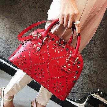 Cut Out Stud Handbag -  RED