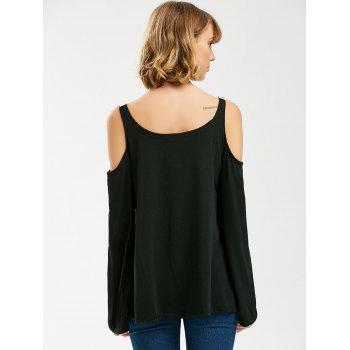 Crochet Trim Long Sleeve Cold Shoulder Top - BLACK M