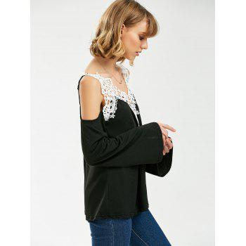 Crochet Trim Long Sleeve Cold Shoulder Top - BLACK L