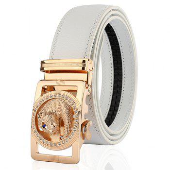 Automatic Buckle Leopard Head Carving Belt - WHITE AND GOLDEN WHITE/GOLDEN