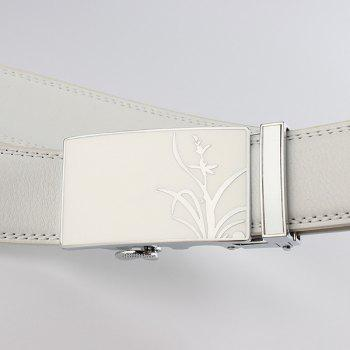 Auto Buckle Polished Orchid Pattern Belt - WHITE 130CM