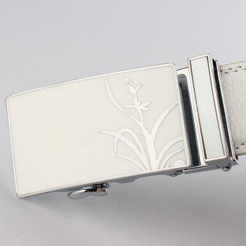 Auto Buckle Polished Orchid Pattern Belt - WHITE 110CM
