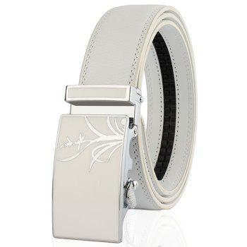 Auto Buckle Polished Orchid Pattern Belt - WHITE WHITE