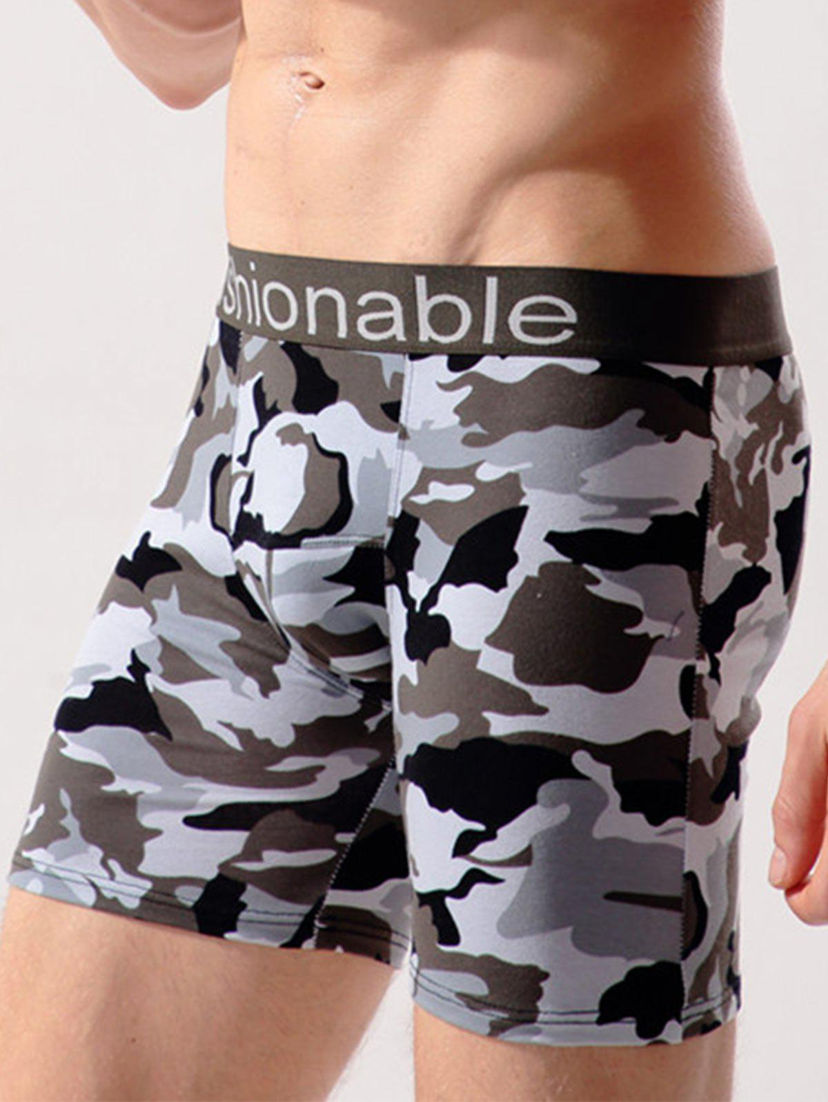 Workout Camo Swimming Trunks - GRAY WHITE CAMOUFLAGE 2XL