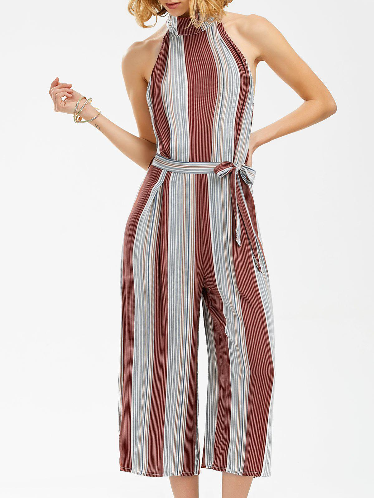Mock Neck Stripe Backless Wide Leg Jumpsuit - STRIPE XL