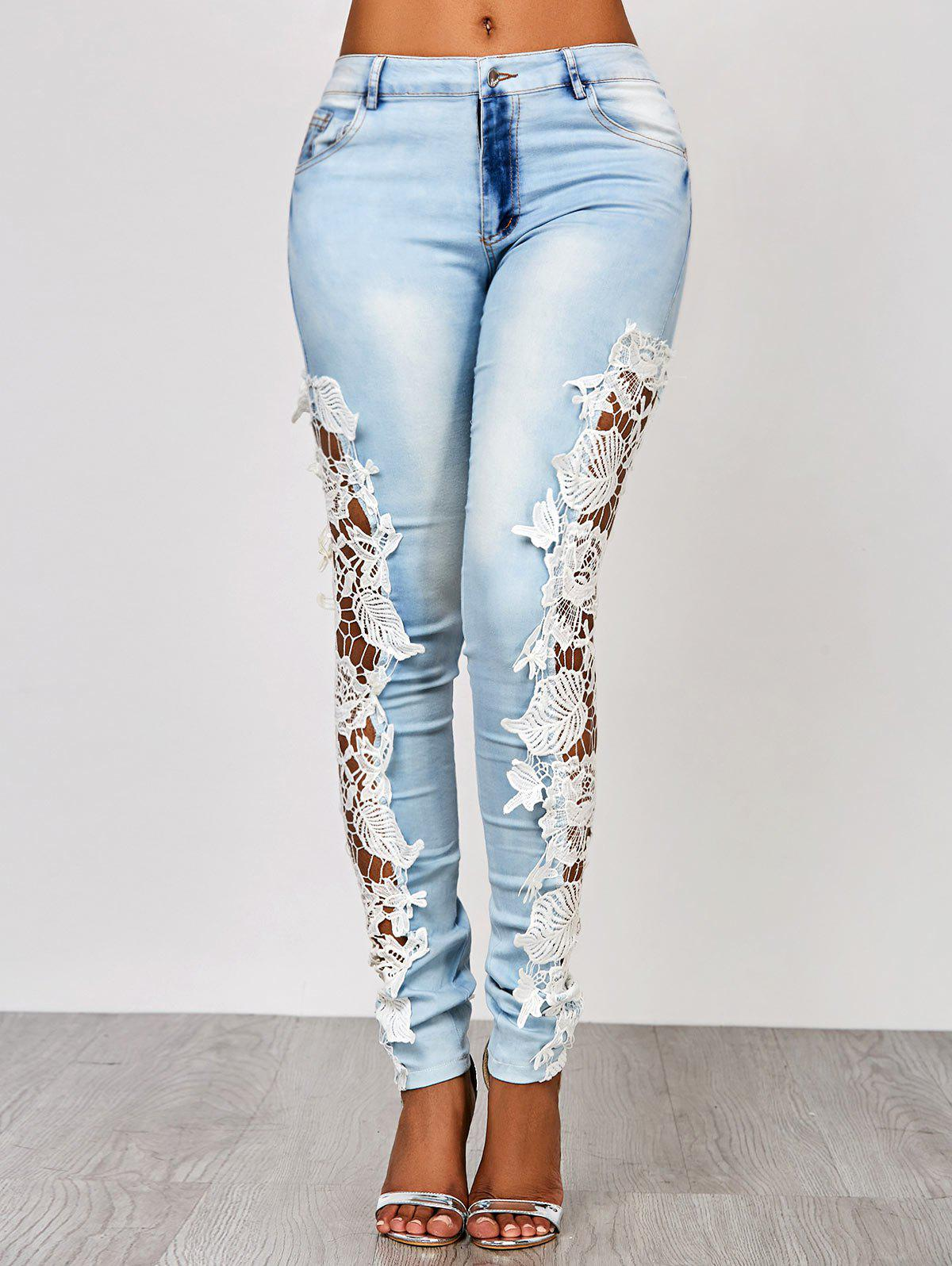 Attractive White Hollow Out Lace Spliced ​​Bodycon Pencil Jeans pour les femmes - Azur XL