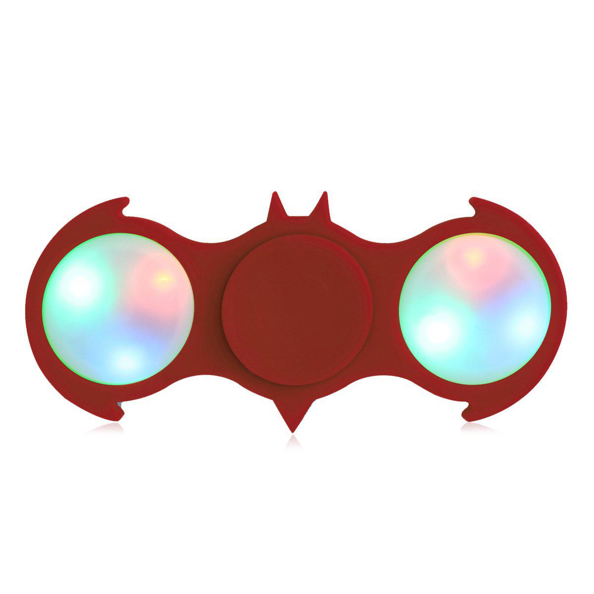 Colorful Flashing LED Lights Fiddle Toy Bat Fidget Spinner - RED