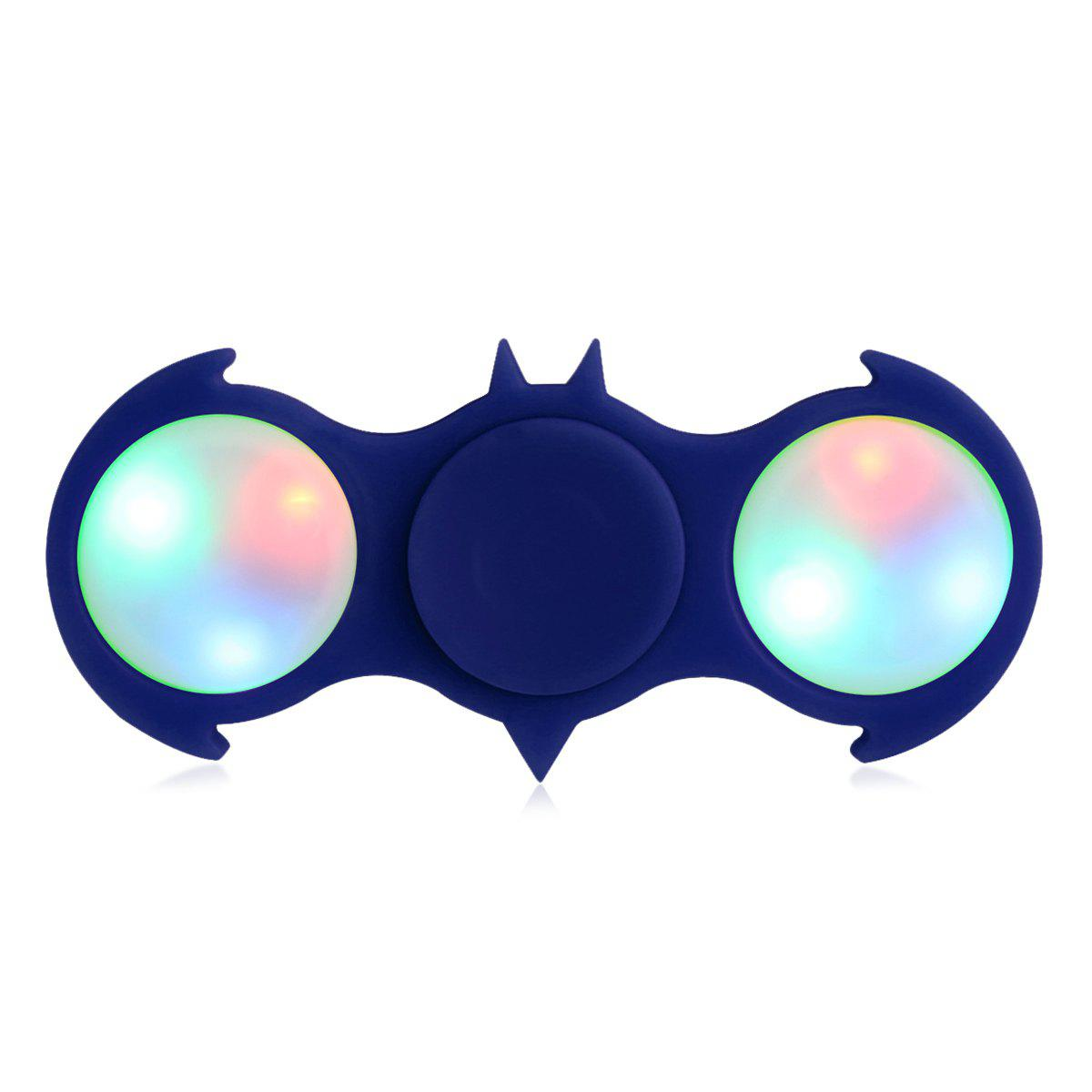 Colorful Flashing LED Lights Fiddle Toy Bat Fidget Spinner - BLUE