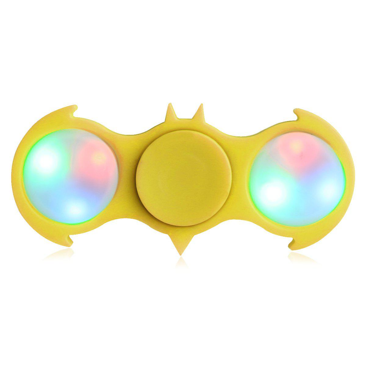 Colorful Flashing LED Lights Fiddle Toy Bat Fidget Spinner - Jaune