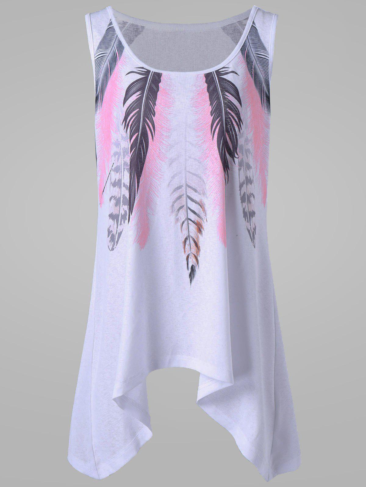 Plus Size Feather Tank Top - WHITE 4XL