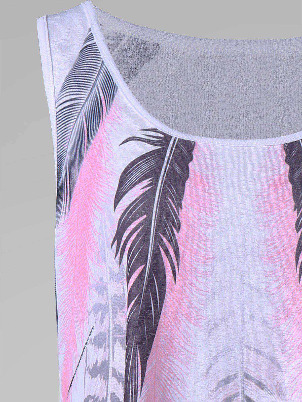 Plus Size Feather Tank Top - WHITE XL