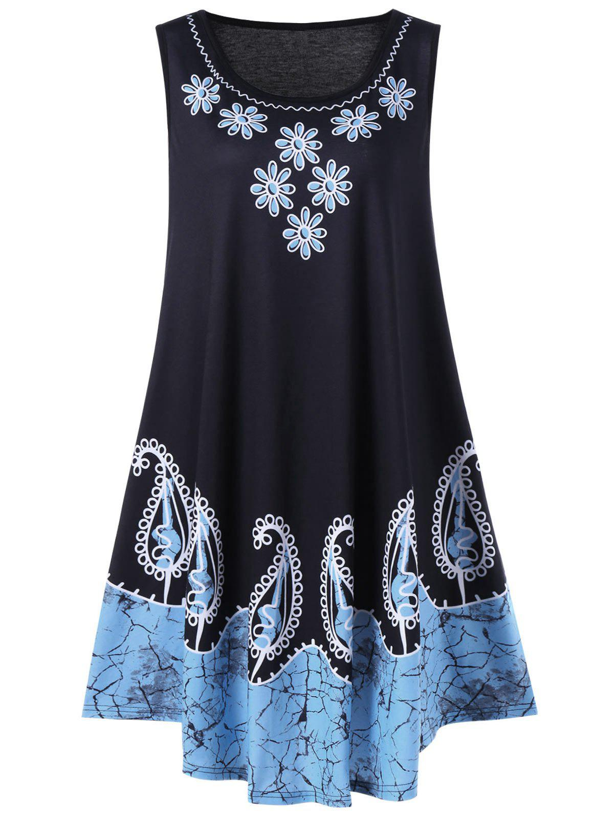 Plus Size Floral and Paisley Sleeveless Dress - BLACK/BLUE 4XL