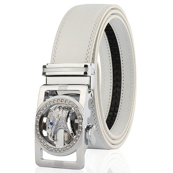 Rhinestone Auto Buckle Eagle Head Engraved Belt - SILVER/WHITE 120CM