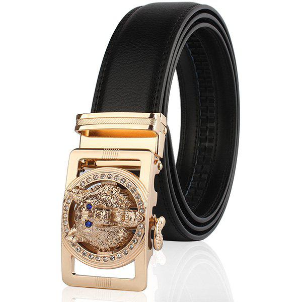 Rhinestone Alloy Auto Buckle Wolf Carving Belt - Noir et Or 130CM