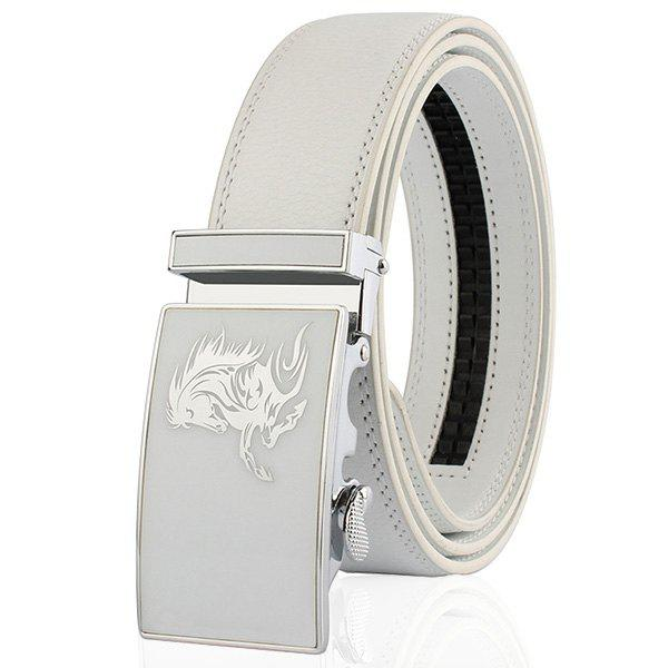 Metal Polished Buckle Horse Head Pattern Belt - WHITE 130CM