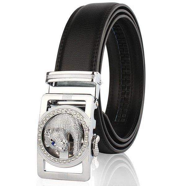 Automatic Buckle Leopard Head Carving Belt - SILVER/BLACK 130CM