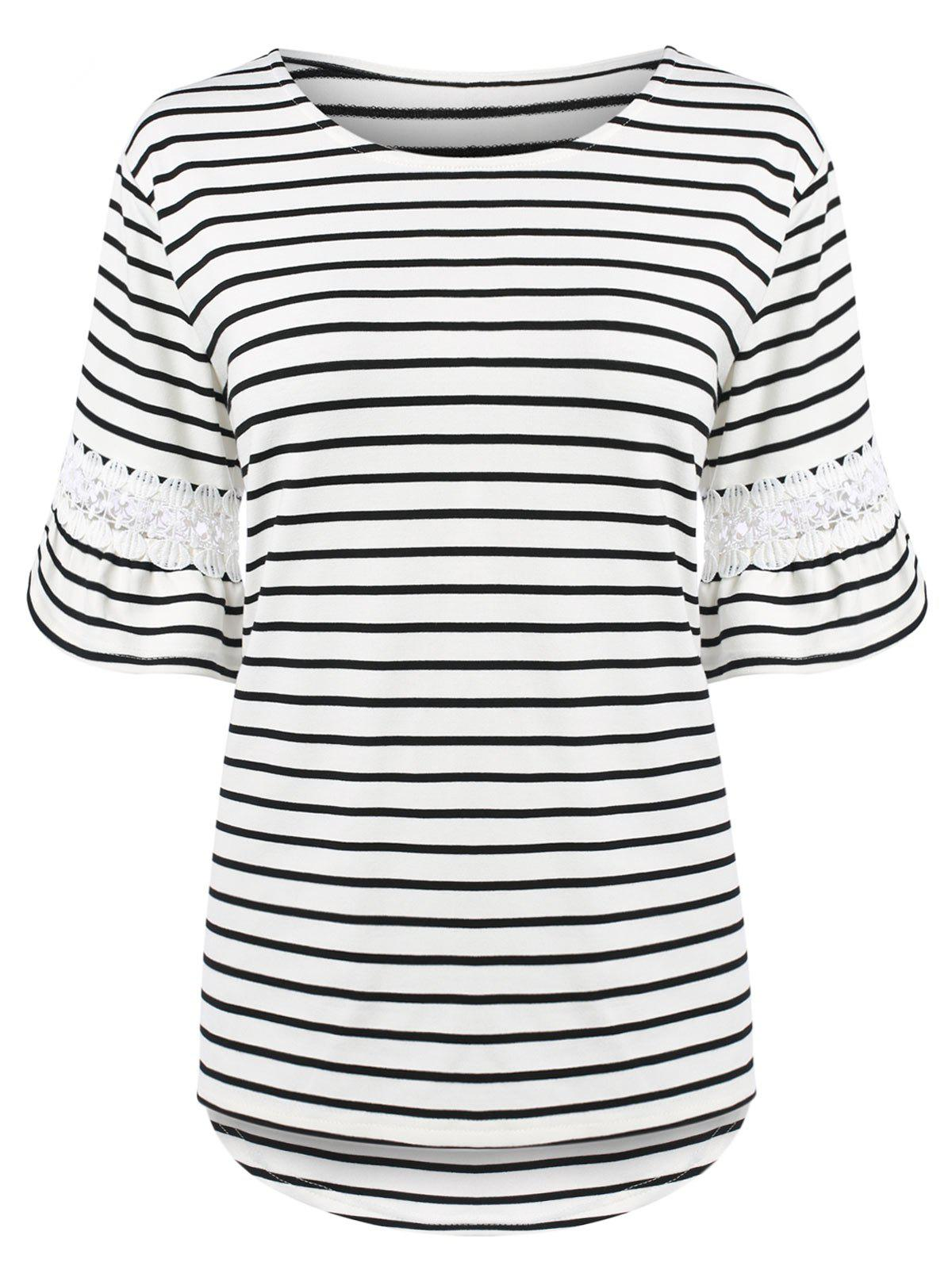 Plus Size Bell Sleeve Stripe T-Shirt with Lace Trim - WHITE 5XL