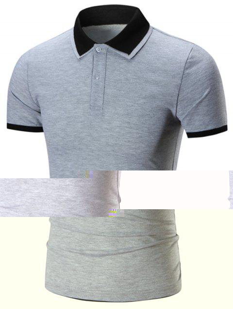 Double Layers Collar Tee - GRAY 2XL