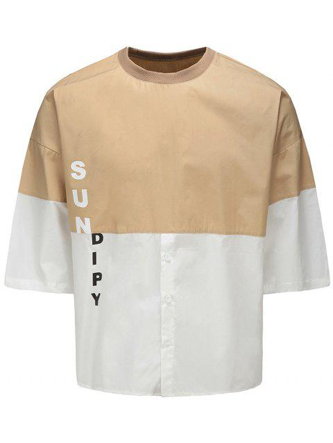 Color Block Half Button Graphic Tee - KHAKI L
