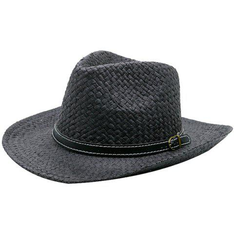 Detachable Artificial Leather Belt Woven Straw Hat - BLACK