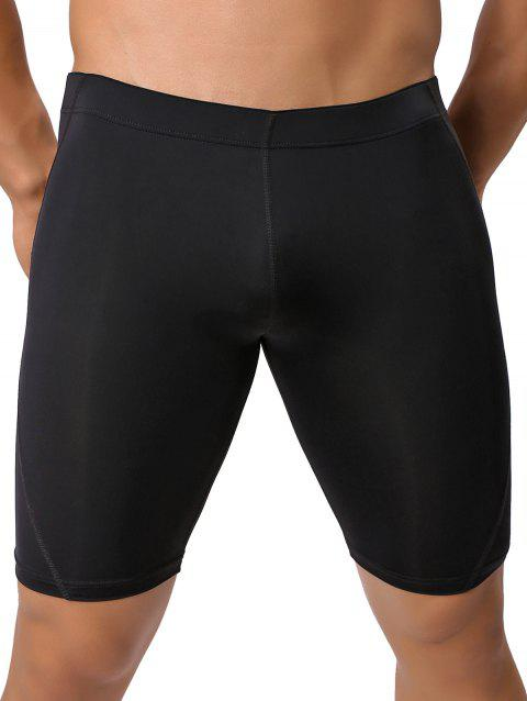 Breathable Stretch Mid-Rised Swimming Shorts - BLACK XL
