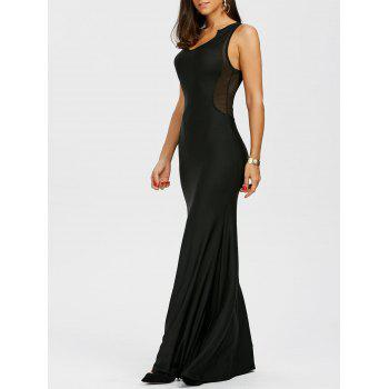 Sleeveless Mesh Panel Racerback Maxi Dress