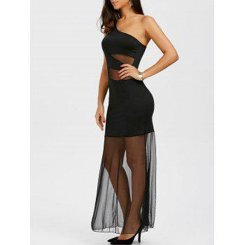 One Shoulder Mesh Insert Maxi Cocktail Prom Dress