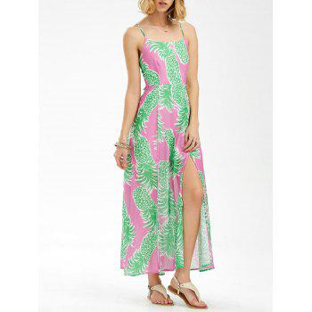 Chiffon Pineapple Print Spaghetti Strap Backless Maxi Dress