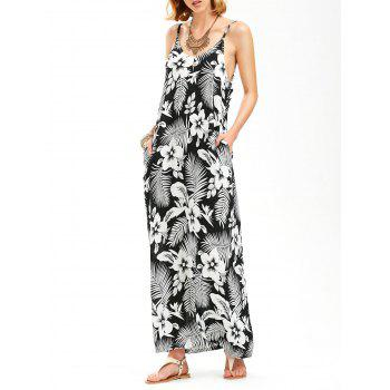 Backless Palm Leaf Floral Maxi Slip Dress
