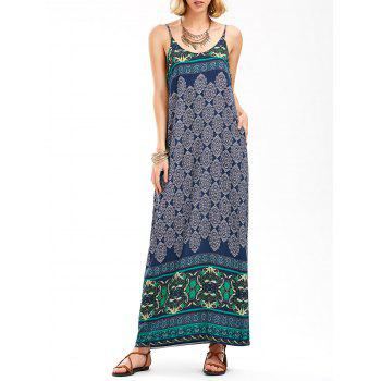 Backless Vintage Printed Maxi Slip Dress