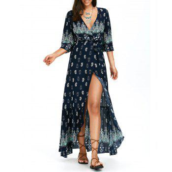 Asymmetrical Bohemian Printed Wrap Maxi Dress