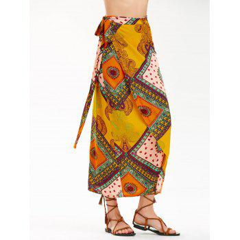 High Waist Bohemian Print Midi Wrap Skirt